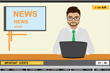 newsreader: news anchor man header TV, stock vector illustration
