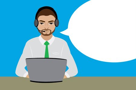 Customer service representative at computer in headset.. Cartoon phone operator with white bubble speech. Vector illustration