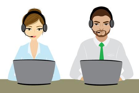 representative: Customer service representative at computer in headset. isolated on white. Cartoon phone operator. Vector illustration