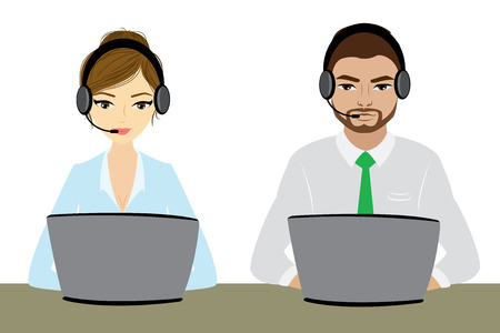 représentant du service à la clientèle à l'ordinateur dans le casque. isolé sur blanc. Cartoon opérateur de téléphonie. Vector illustration