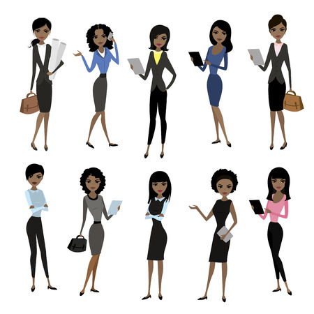 Set african american business lady . Beautiful woman in business clothes isolated on white background. Cartoon stock Vector illustration
