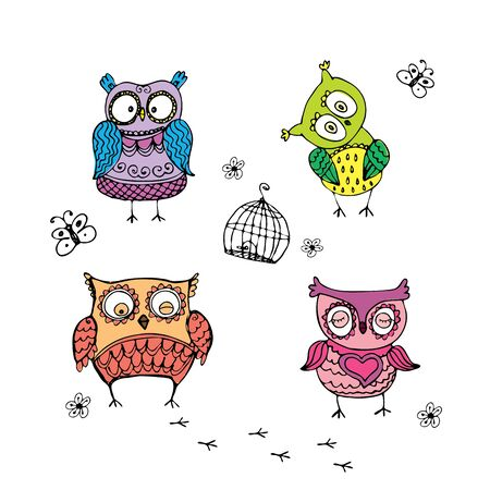 Collection of  different owls,hand drawing vector illustration
