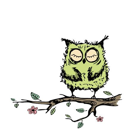 Cute owl sitting on a branch of a tree,isolated on white background,hand drawing vector illustration