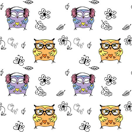 Vector seamless pattern with cute owls. hand drawing cartoon characters.