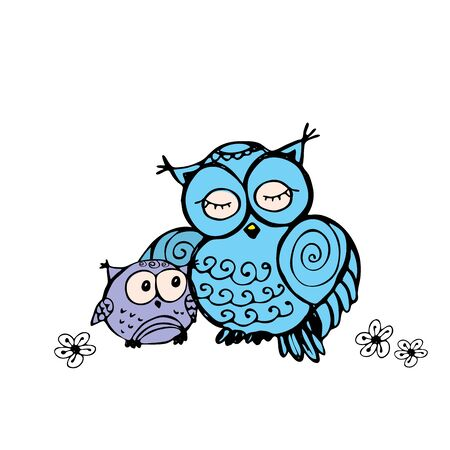 mother owl and owlet, isolated on white background, hand drawing vector illustration
