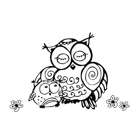 owlet: mother owl and owlet, isolated on white background, hand drawing vector illustration