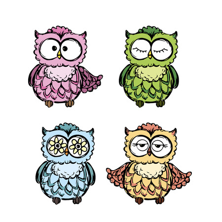 Collection of  different owls,hand drawing vector illustration.
