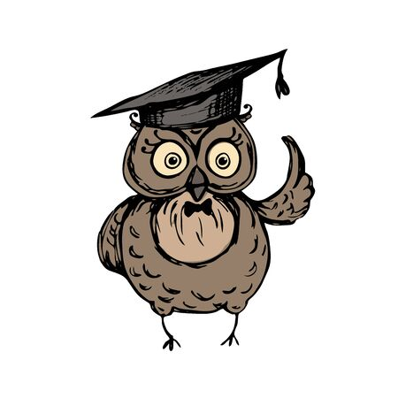 Cute owl with graduation hat standing on the old vintage books,isolated on white background,stock vector illustration Illustration