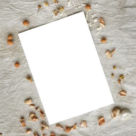 Romantic mockup on rustic canvas background for creative work design.