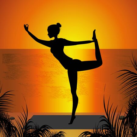 Woman practicing yoga on the sunset background Illustration