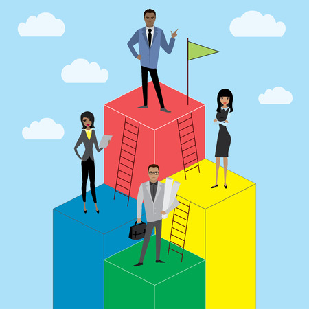 busines: Business Growth or career ladder,cartoon businessman and busines