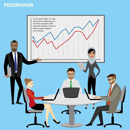 Business People Group Presentation Flip Chart Finance,isolated o