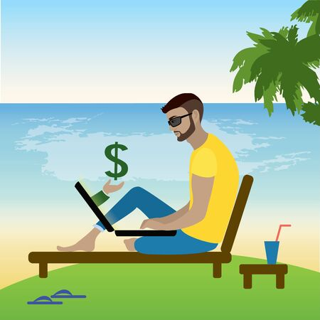 freelancer working at a laptop on the beach