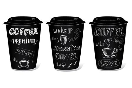decaffeinated: Black coffee cup covered with hand drawing on the theme of coffee, vector illustration on a white background