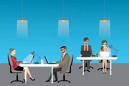 Coworking center concept, people working together. Stock vector illustration Illustration
