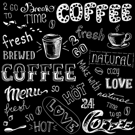 Vector illustration hand drawn coffee to go, cups, mugs, beans and lettering types . Black and white Иллюстрация