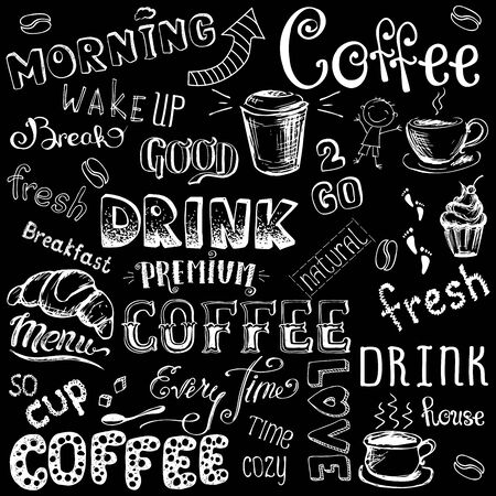 Vector illustration hand drawn coffee to go, cups, mugs, beans and lettering types . white on black background