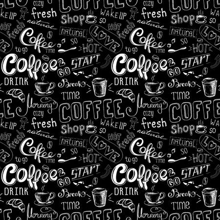 seamless doodle coffee pattern on black background ,hand drawn, stock vector illustration Vector Illustration