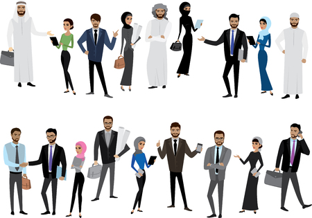 without clothes: Big cartoon set of Arab men and women in different clothes and characters, isolated without background,stock vector illustration