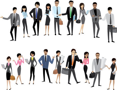 women body: Big Set Asian businessmen and business women, isolated without background, cartoon stock vector illustration Illustration