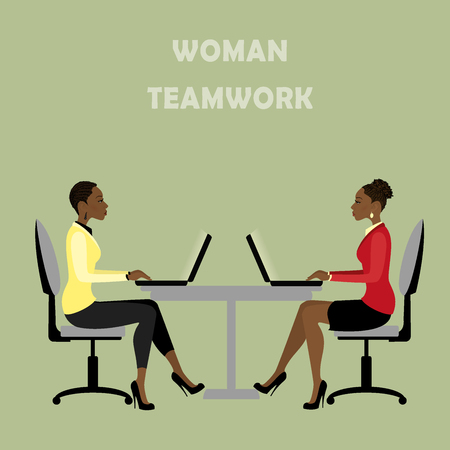 american table: African american Office workers or business people sitting at the table. Working On laptop , teamwork . Vector illustration