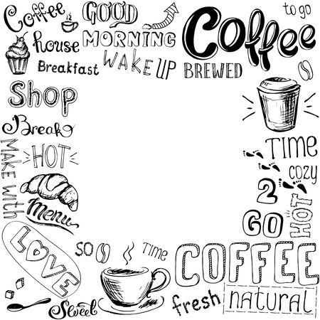 Coffee doodle background or frame, hand drawn on white , stock vector illustration