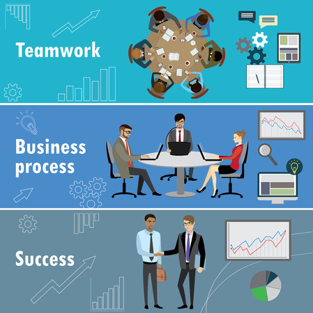 workteam: flat banner set with teamwork, business process and success, stock vector illustration.