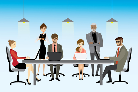 vector illustration of coworking center concept, people working together and shared working environment. Illustration