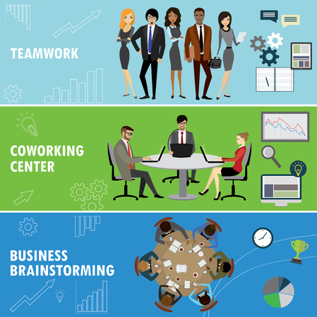 workteam: Set business banner. Teamwork,coworking and group brainstorming. Business people in different situations.Vector illustration. Illustration