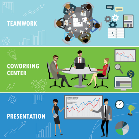 workteam: Set business banner. Teamwork,coworking and presentation. Business people in different situations.Vector illustration.