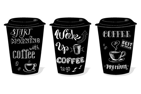 decaffeinated: Black coffee cup covered with hand drawing on the theme of coffee, vector illustration on a white background.