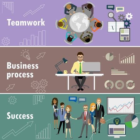 workteam: flat banner set with teamwork, business process and success, cartoon stock vector illustration