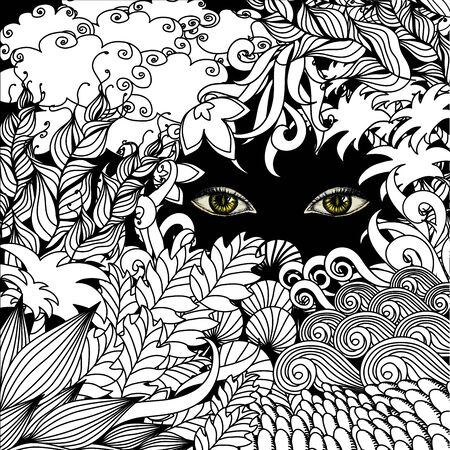 Summer zentangle floral  background and Scary eyes staring , stock vector illustration
