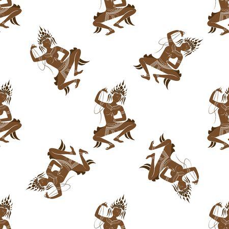 Apsara dancer seamless pattern, on white background, vector illustration