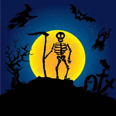 Halloween  skeleton on a graveyard. Scary background. Hand drawn vector illustration Illustration