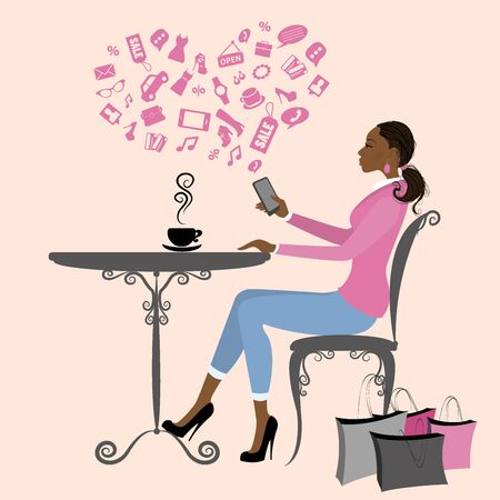 african americans: african american girl is drinking coffee and on the Internet via a smart phone,vector illustration
