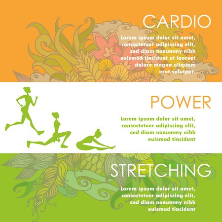 jogging in nature: Set of horizontal color banners about different physical activity and flowers on background, cartoon stock vector illustration Illustration