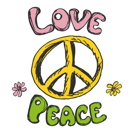 Hand drawn hippie background,love and peace. Isolated on white background.Vector illustration Illustration