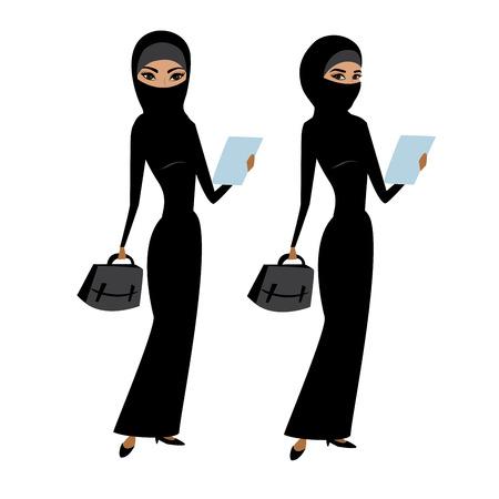 Vrij jonge moslim bedrijfsdiedame, op witte achtergrond, voorraad vectorillustratie wordt geïsoleerd