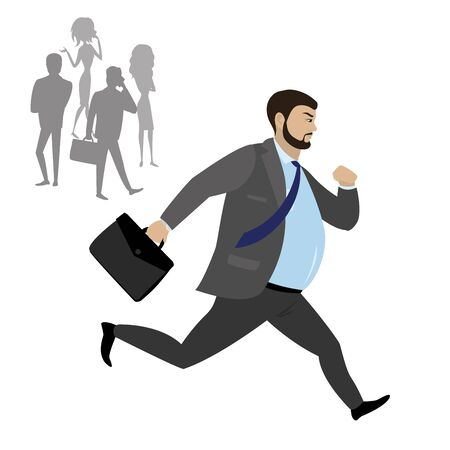 Fat Businessman running ,isolated on white background,stock vector illustration