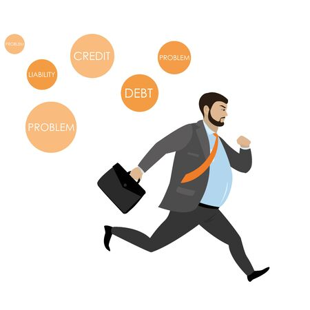 Fat Businessman running away from problems icons,isolated o white background,stock vector illustration