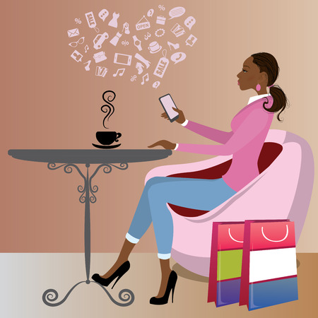 after: Cute african american lady after shopping is drinking coffee and on the Internet via a smart phone,vector illustration Illustration