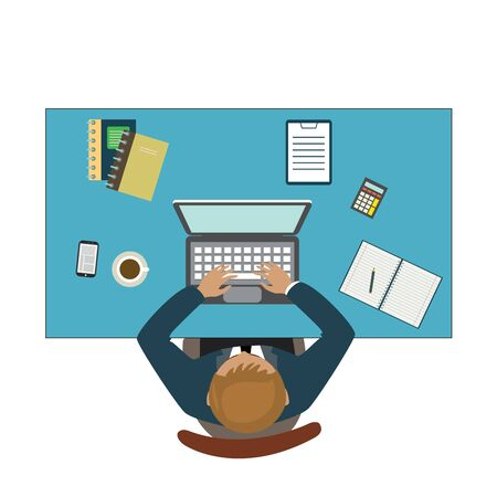aerial view: Office workplace. Businessman working with laptop and documents on table, top view. Isolated on white background. Flat design cartoon style.vector illustration