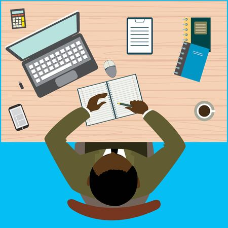 american table: Office workplace. African american businessman working with laptop and documents on table, top view. Flat design cartoon style.Stock vector illustration