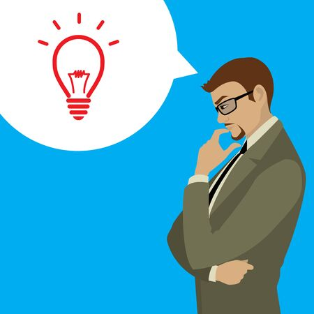 Businessman thinks about problem, thought bubble with idea, stock vector illustration