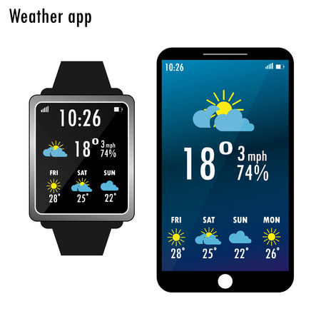 scrollbar: Smartphone and smart watch with weather app on the screen. Flat design template for mobile apps, isolated on white background,Vector illustration