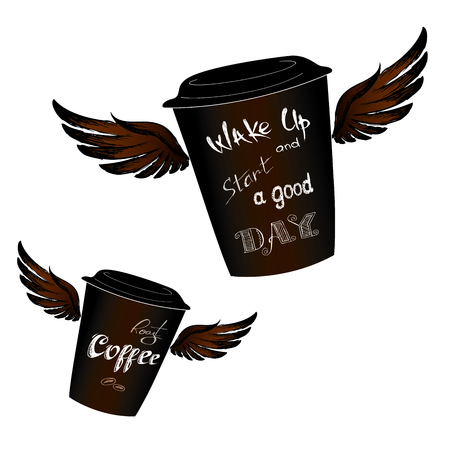 Coffee to go with wings, Wake up -  lettering, isolated on white, stock vector illustration