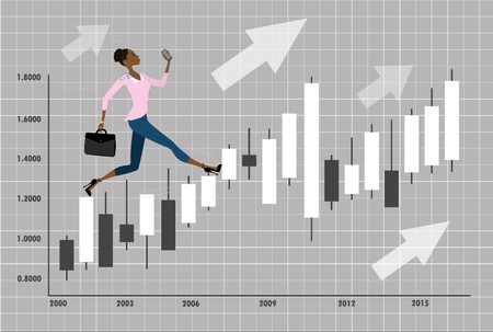 cliff edge: Young, pretty african american business woman or office worker run on chart with candlesticks to success, cartoon vector illustration Illustration