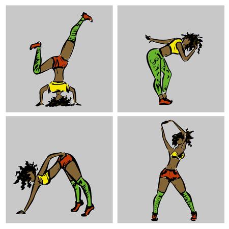 Dancehall girls, hand drawn, stock vector illustration