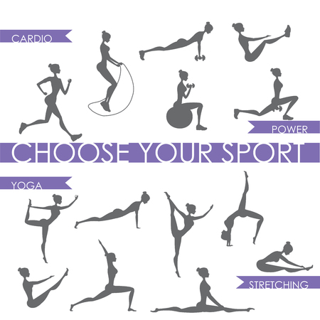 aerobics class: Big set - Fitness and yoga People silhouette ,Isolated,Vector Illustration